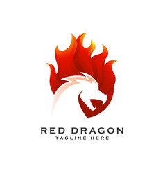 red dragon gradient logo icon vector image