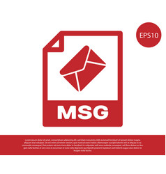 Red msg file document icon download msg button vector