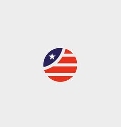 Round american flag star stripes logo design us vector