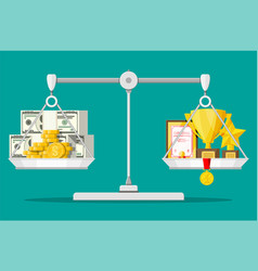 scales with money and trophy vector image