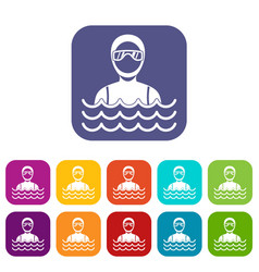 Scuba diver man in diving suit icons set vector