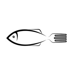sea food logo stylized image fish and forks vector image