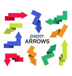 Set multi-colored paper arrows vector