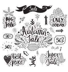 Set of hand drawn autumn sale banners vector