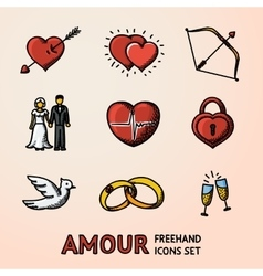 Set of hand drawn love amour icons with - heart vector