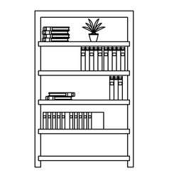 shelves with books black and white vector image