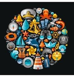 Ship travel icon set contains lighthouse killer vector image