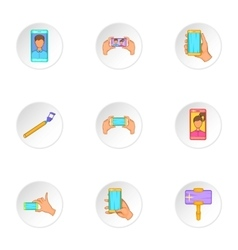 Shooting on cell phone icons set cartoon style vector image