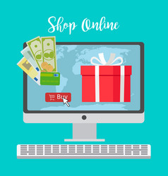 shop online concept with red present vector image
