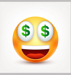 Smileydollarsmiling emoticon yellow face with vector