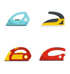 Smoothing iron drag icons set flat style vector