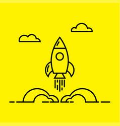 Space rocket launch line icon vector