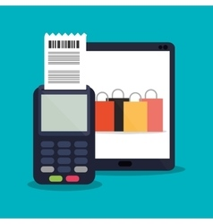 Tablet and shopping online design vector