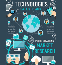 Technologies data streams digital poster vector