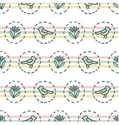 Tiny birds dotty stripesseamless pattern vector