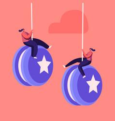 Tiny female characters hang on huge yo-yo effect vector