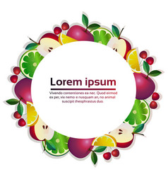 tropical fruits colorful circle organic over white vector image