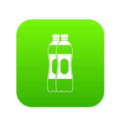 two plastic bottles icon digital green vector image