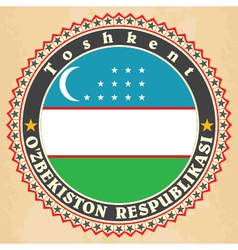 Vintage label cards of Uzbekistan flag vector