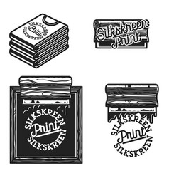 Vintage silkskreen print emblems vector