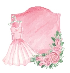Watercolor pink dress roses decorbadgeVintage vector image