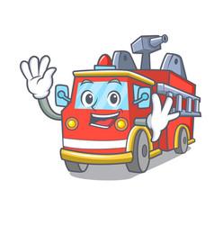 Waving fire truck character cartoon vector