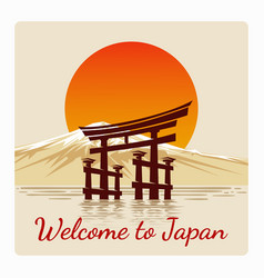 Welcome to japan retro poster vector