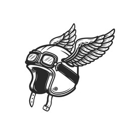 winged racer helmet on white background design vector image
