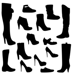 Womens shoes set black isolated vector image