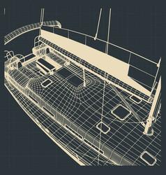 yacht hull drawings vector image