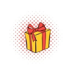 Yellow gift box with a red ribbon comics icon vector