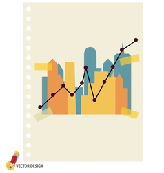 Abstract building with graph vector image vector image