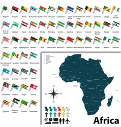 African political map with flags vector image