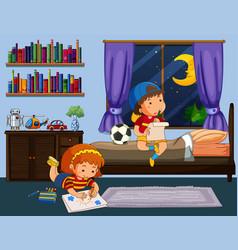 boy and girl doing homework in bedroom vector image vector image