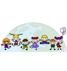 children with world vector image