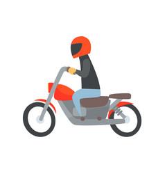 man in helmet riding a motorcycle cartoon vector image