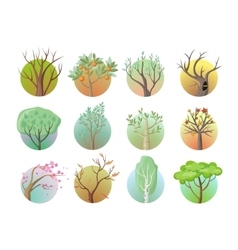 Set of Tree Round Icons vector image vector image