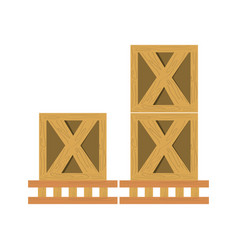 wooden boxes delivery vector image