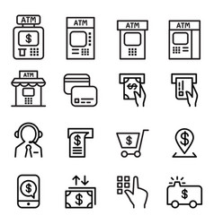 atm icon set in thin line style vector image vector image
