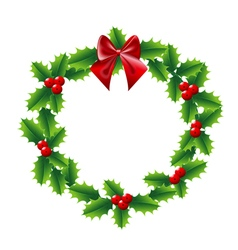 Holly Christmas wreath with bow red ribbon vector image vector image