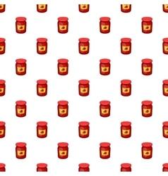 Jar of strawberry jam pattern cartoon style vector image vector image