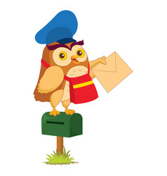 of cartoon owl teacher vector image