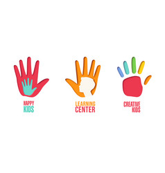 paper cut out logo set with children hands vector image