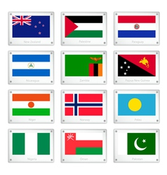 Two World Flags on Metal Texture Plates vector image vector image