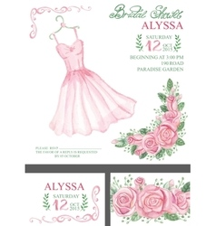 Watercolor pink bridal shower invitationdress vector