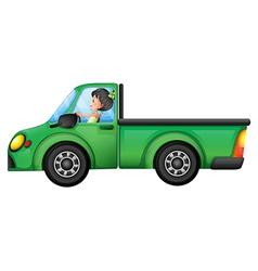 A green car driven by a girl vector