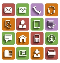 Contact Us Icons Set With Shadow vector image vector image