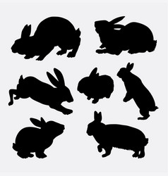rabbit animal action silhouette vector image