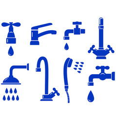 Water set with isolated faucet icon vector