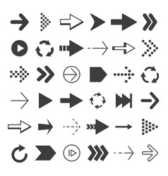 black arrows set pictures isolate vector image vector image